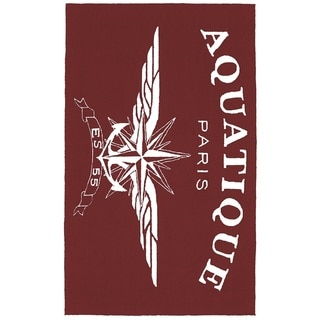 Aquatique Red/White Hand-hooked Polyester Area Rug (2'5 x 4')