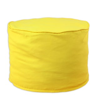 Solid Corn Yellow Cotton 12.5-inch Round x 12.5-inch High Corded Beads Hassock