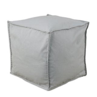 Solid Storm Grey 12.5-inch Square Seamed Footstool