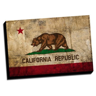 California Distressed State Flag Stretched Canvas Wall Art