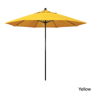California Umbrella 9' Rd. Fiberglass Frame/Rib Commercial Market Umbrella, Push Lift System, Black Finish, Sunbrella Fabric