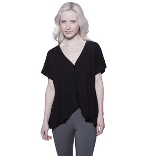 AtoZ Women's Black Cotton Short Sleeve Cardigan