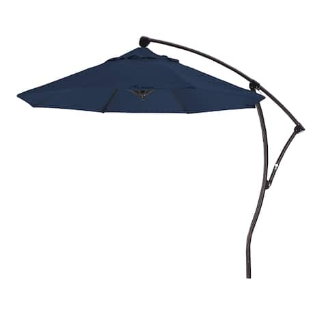 California Umbrella 9' Rd Aluminum Cantilever Market Umbrella, Crank Lift, 360 Degree Rotation, Bron