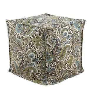 Blue and Brown Paisley Cotton 17-inch Square Seamed Beads Ottoman