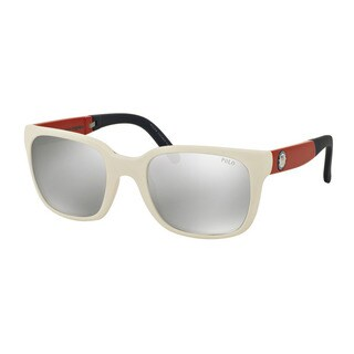 Polo Ralph Lauren Men's PH4111 55956G White Plastic Square Sunglasses