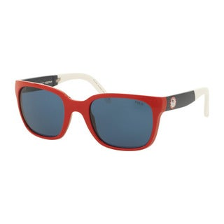 Polo Ralph Lauren Men's PH4111 559480 Red Plastic Square Sunglasses