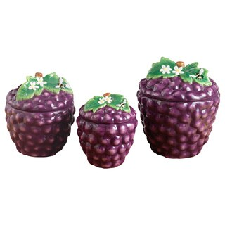 American Atelier Purple Ceramic 3-piece Grape Canister Set