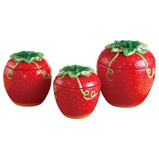 American Atelier Red Ceramic 3-piece Strawberry Canister Set