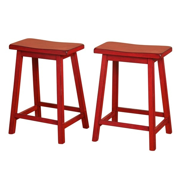 simple living marney rubberwood 24inch saddle stools set of 2 free shipping today - Saddle Stools