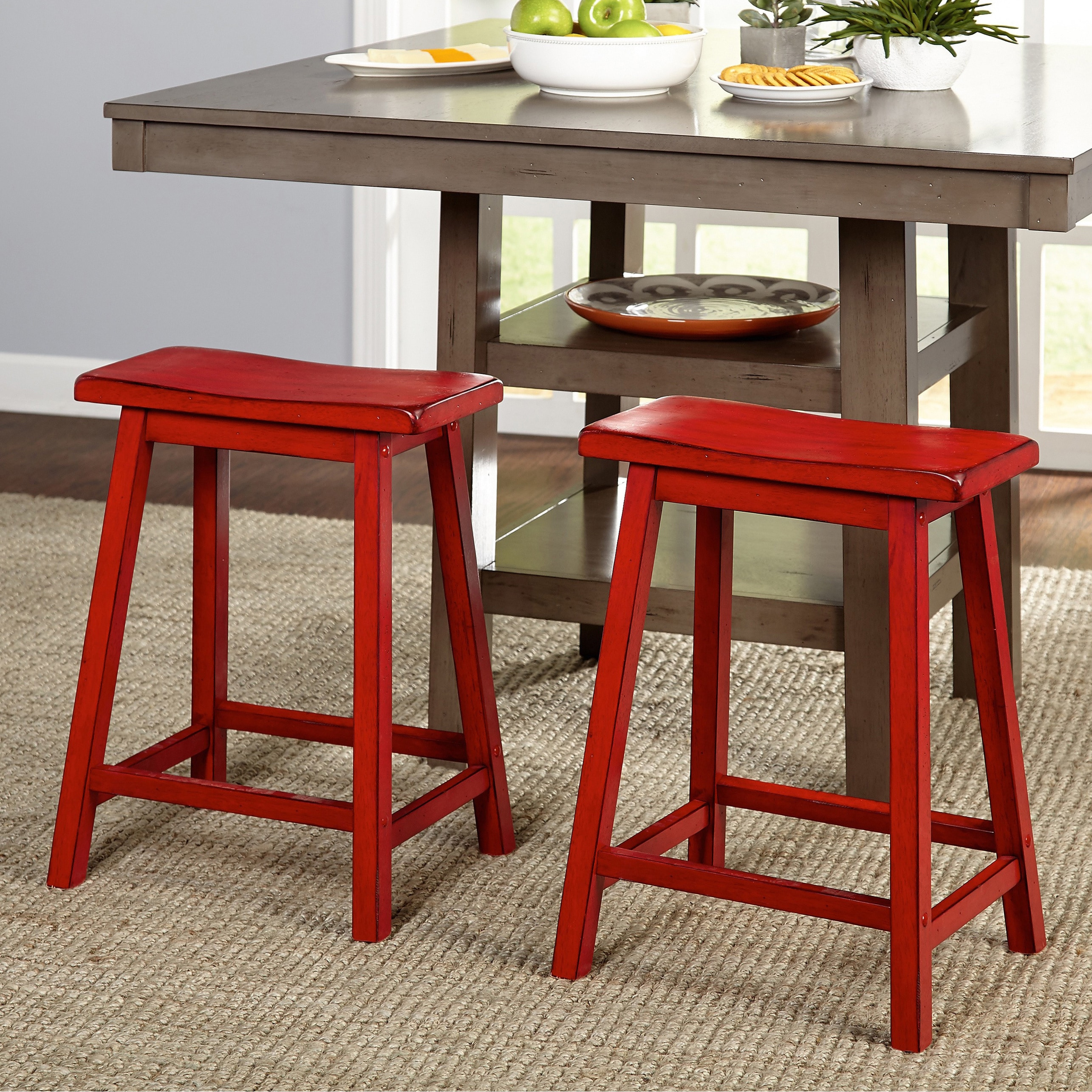 Fine Simple Living Marney Rubberwood 24 Inch Counter Height Saddle Stools Set Of 2 Pdpeps Interior Chair Design Pdpepsorg