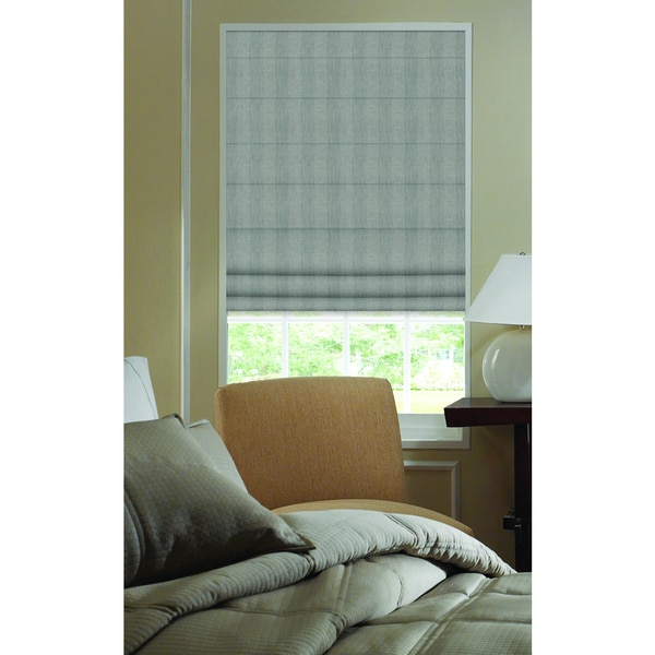 Ashton Grey Smoke Stripe Roman Shade 29 to 29.5-inch Wide