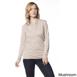 AtoZ Long Sleeve Cotton Wrap Top