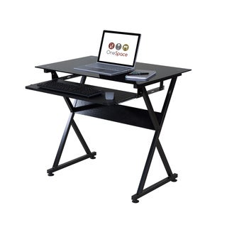 One Space 50-JN1205 Black Glass Computer Desk with Pull-out Keyboard Tray