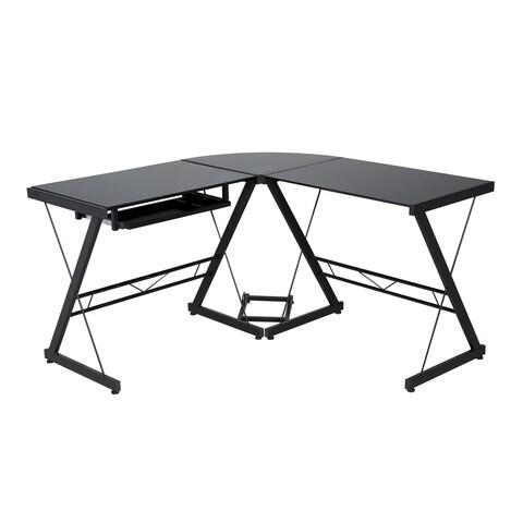 Comfort Products Black Glass-top L-shaped Desk