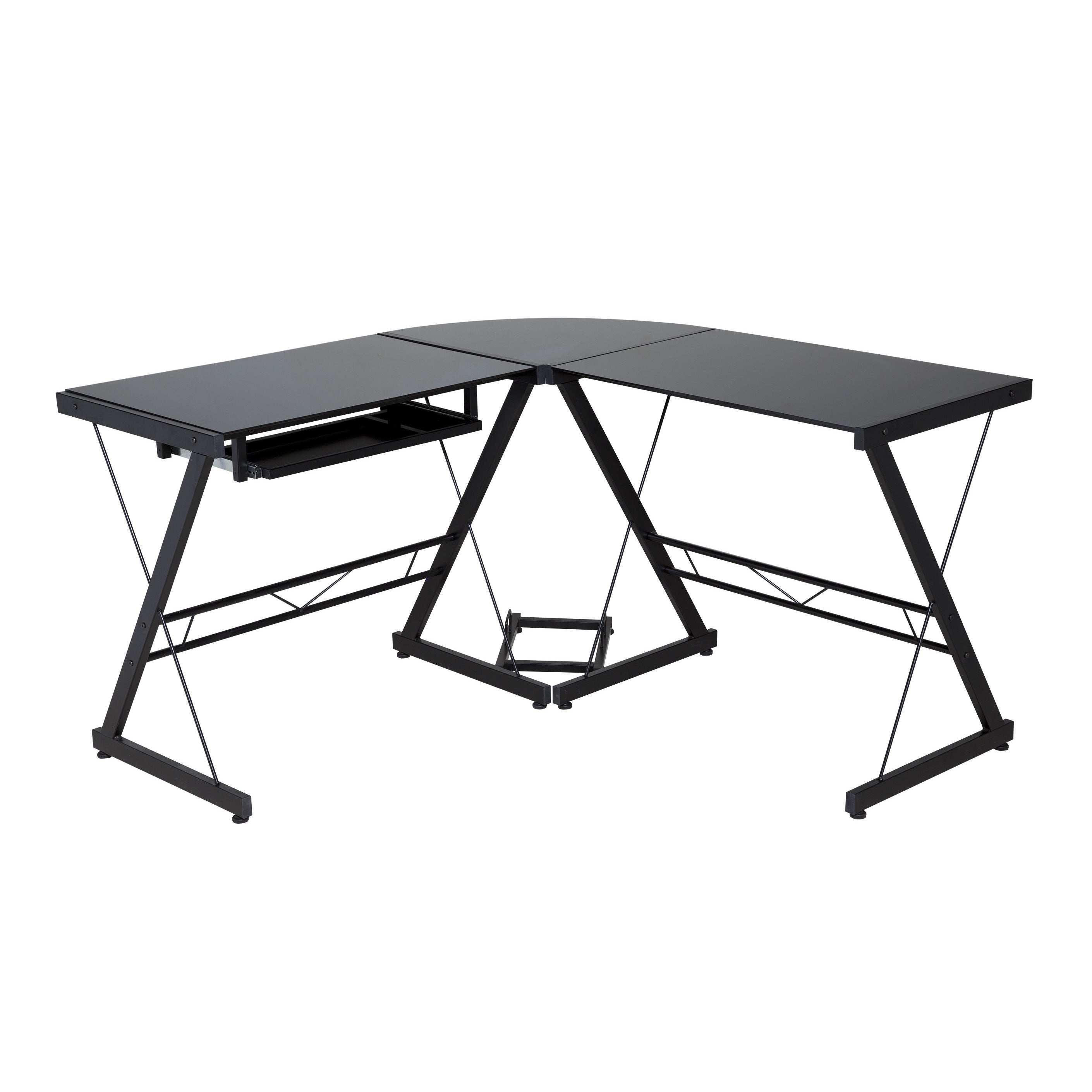 Comfort Products Black Glass Top L Shaped Desk Overstock 11998764
