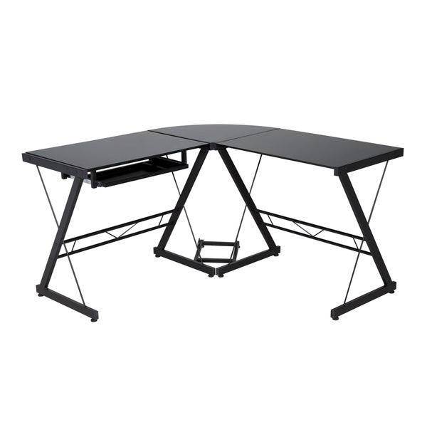 Comfort Products Black Gl Top L Shaped Desk Free Shipping