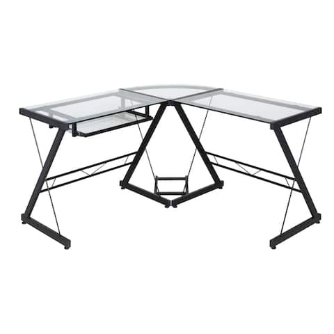 One Space 50-JN110500 Black and Clear Glass L-shape Desk with Pull-out Keyboard Tray