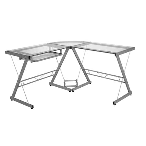 One Space Silver and Clear Glass L-shape Desk with Pull-out Keyboard Tray