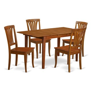 PSAV5-SBR Table with Leaf 4-chair 5-piece Small Dinette Set
