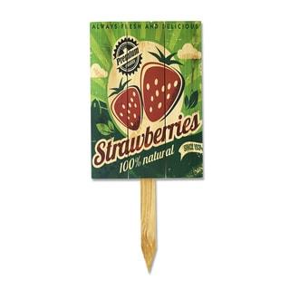 Wood Strawberries Garden Stake/Yard Marker