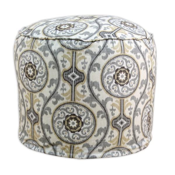 Oh Suzani Round Multicolored Cotton Ottoman Free