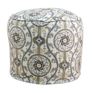 Oh Suzani Round Multicolored Cotton Ottoman