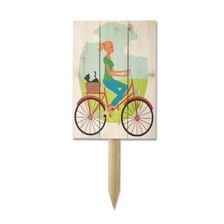 Wile E Girl on Bike Cedar Yard Marker