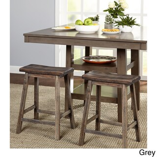 Simple Living Marney Rubberwood Bar Stool Saddle (Set of 2)
