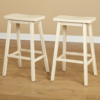 Simple Living Marney Rubberwood Bar Stool Saddle (Set of 2) (Option: Cream - Painted)