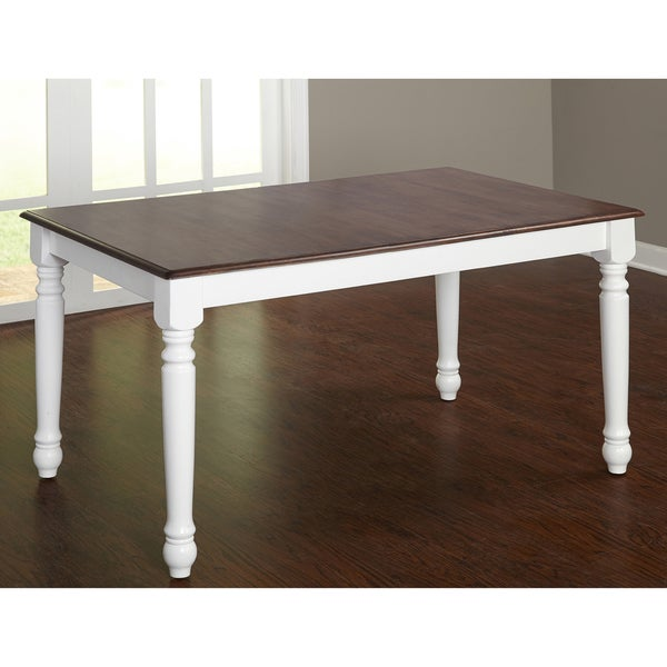 Merveilleux Simple Living Skipton Walnut/ White Rubberwood Rectangular Table   Walnut