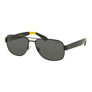 Polo Ralph Lauren Men's PH3097 930487 Black Metal Pilot Sunglasses