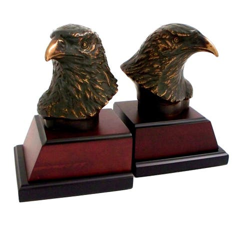 Cast Metal Bronze Finish Eagle Head Bookends