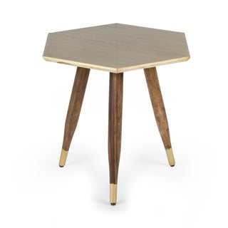 Kota Brass Finish Wood Accent Table
