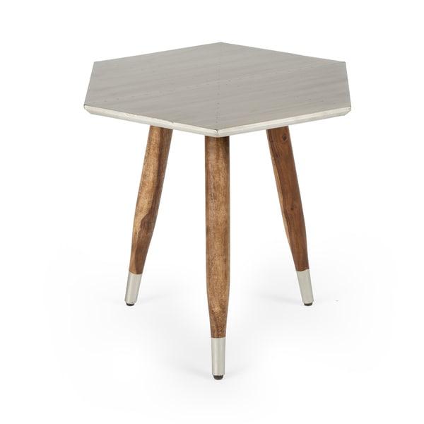 Na Kota Mango Wood Copper Top Side Table