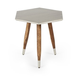 NA Kota Mango Wood Copper Top Side Table