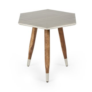 NA Kota Silvertone Wood Accent Table
