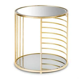 Olaf Gold Metal 2-level Mirrored Side Table