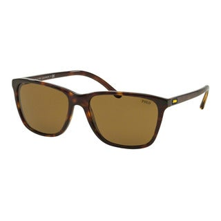 Polo Ralph Lauren Men's PH4108 500373 Havana Plastic Square Sunglasses