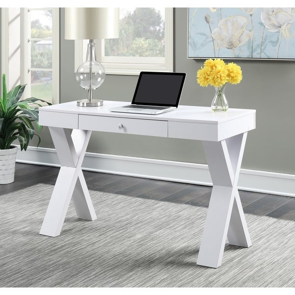 convenience concepts newport espresso white wood desk with drawer free shipping today. Black Bedroom Furniture Sets. Home Design Ideas