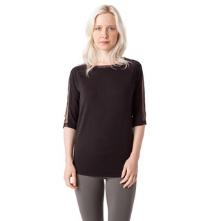 AtoZ Women's Black Cotton Elbow-sleeve Mesh Top