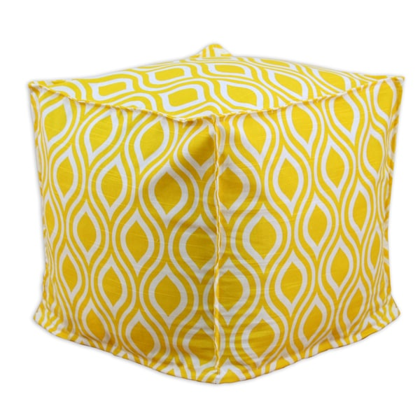 Nichole Corn Yellow and White Cotton 12.5-inch Square Ottoman. Opens flyout.