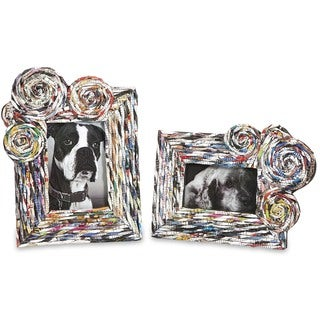 Anise Recycled Magazine Photo Frames (Set of 2)