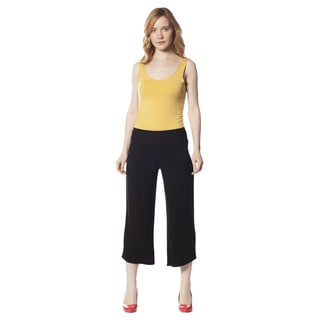 AtoZ Women's Black Rayon Capri Pants