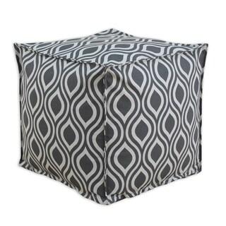 Nichole Lakin Grey Cotton 12.5-inch Square Ottoman