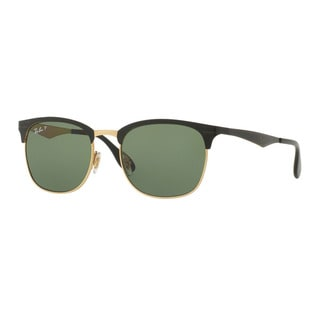 Ray-Ban RB3538 Unisex Shiny Black on Gold Frame Dark Green Polarized Lens Sunglasses