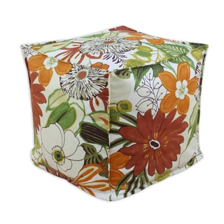Lilith Marigold Multicolored Floral Cotton 12.5-inch Square Seamed Footstool