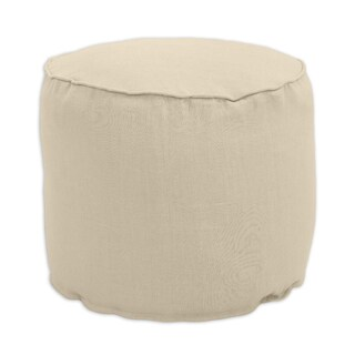 Jefferson Driftwood Tan Linen 12.5-inch Round Corded Beads Hassock