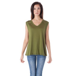 AtoZ Green Cotton V-Neck Sleeveless Loose Top