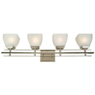 Y-Decor Michael Satin Nickel Finish 4-light Bathroom Vanity Fixture with White Frosted Glass