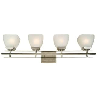 Bathroom Light Fixture Michael Satin Nickel Finish 4-light Vanity with White Frosted Glass